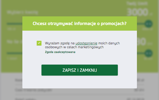 Vivus - okienko ze zgodą na otrzymywanie promocyjnych ofert