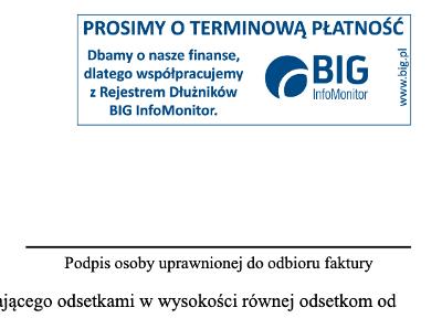 BIG Infomonitor - ostrzezenie o dopisaniu do rejestru dluznikow