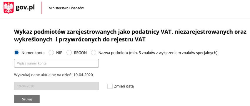 Wykaz podmiotów - podatników VAT - Ministerstwo Finansów