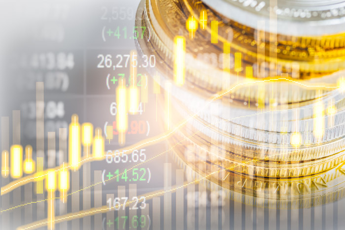 Wykres inwestycji ze złotych monet - wzrosty wartości podczas inflacji